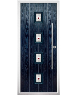 The Leicester Composite Door in Blue with Red Murano
