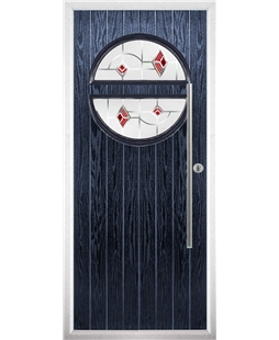 The Xenia Composite Door in Blue with Red Murano
