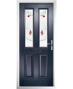 The Cardiff Composite Door in Blue with Red Murano