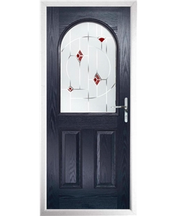 The Edinburgh Composite Door in Blue with Red Murano