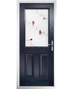 The Farnborough Composite Door in Blue with Red Murano