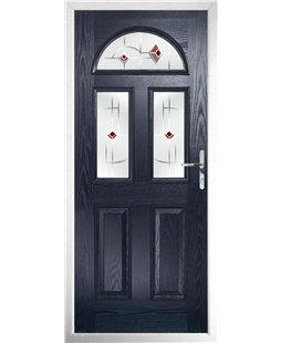 The Glasgow Composite Door in Blue with Red Murano