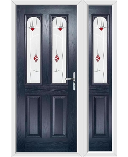 The Aberdeen Composite Door in Blue with Red Murano and matching Side Panel