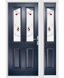 The Birmingham Composite Door in Blue with Red Murano and matching Side Panel
