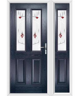The Cardiff Composite Door in Blue with Red Murano and matching Side Panel