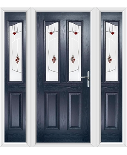 The Birmingham Composite Door in Blue with Red Murano and matching Side Panels