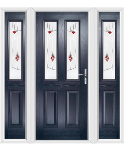 The Cardiff Composite Door in Blue with Red Murano and matching Side Panels