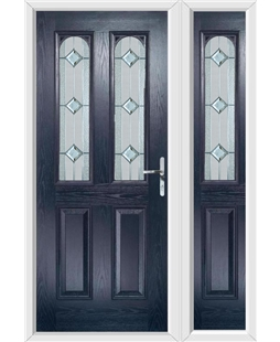The Aberdeen Composite Door in Blue with Simplicity and matching Side Panel
