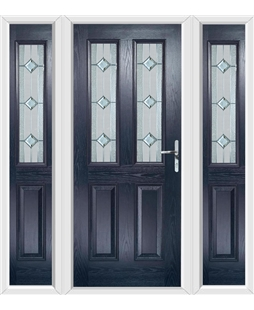 The Cardiff Composite Door in Blue with Simplicity and matching Side Panels