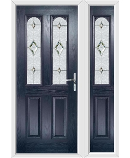 The Aberdeen Composite Door in Blue with Crystal Diamond and matching Side Panel