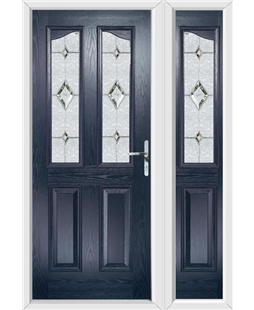 The Birmingham Composite Door in Blue with Crystal Diamond and matching Side Panel