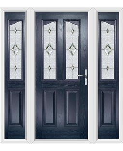 The Birmingham Composite Door in Blue with Crystal Diamond and matching Side Panels