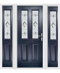 The Cardiff Composite Door in Blue with Crystal Diamond and matching Side Panels