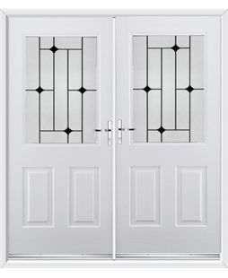 Windsor French Rockdoor in Blue White with Black Diamonds