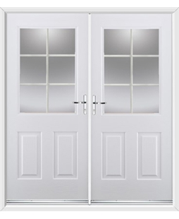 Windsor French Rockdoor in Blue White with White Georgian Bar