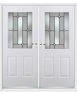 Windsor French Rockdoor in Blue White with Linear