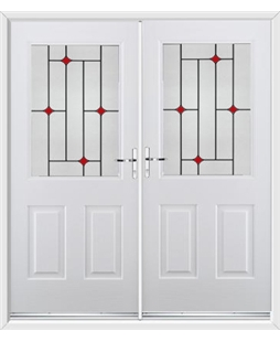 Windsor French Rockdoor in Blue White with Red Diamonds
