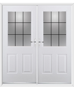 Windsor French Rockdoor in Blue White with Square Lead