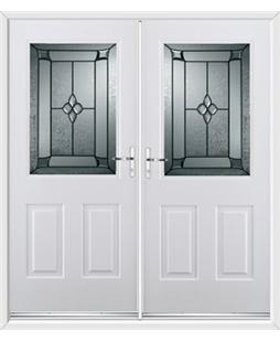 Windsor French Rockdoor in Blue White with Titania Glazing