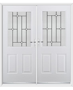 Windsor French Rockdoor in Blue White with White Diamonds