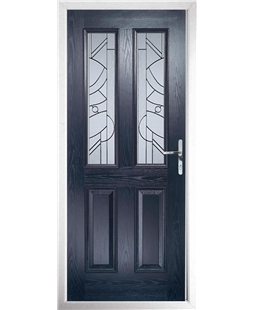 The Cardiff Composite Door in Blue with Zinc Art Abstract