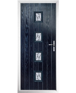 The Uttoxeter Composite Door in Blue with Zinc Art Abstract