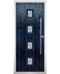 The Leicester Composite Door in Blue with Zinc Art Abstract