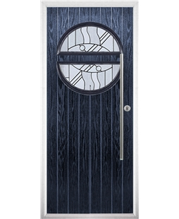 The Xenia Composite Door in Blue with Zinc Art Abstract
