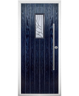 The Zetland Composite Door in Blue with Zinc Art Abstract
