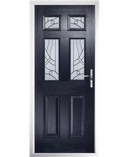 The Oxford Composite Door in Blue with Zinc Art Abstract