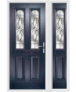 The Aberdeen Composite Door in Blue with Zinc Art Elegance and matching Side Panel
