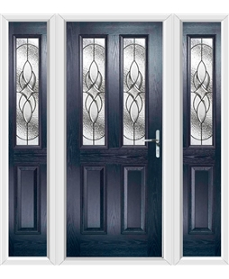 The Cardiff Composite Door in Blue with Zinc Art Elegance and matching Side Panels