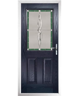 The Farnborough Composite Door in Blue with Green Luxury Crystal