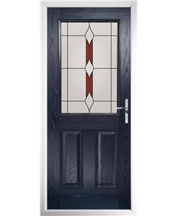 The Farnborough Composite Door in Blue with Red Barcelona