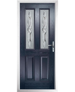 The Cardiff Composite Door in Blue with Crystal