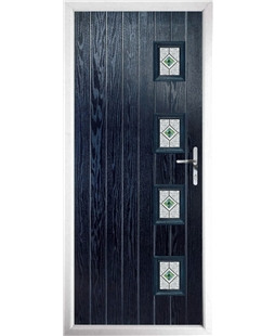 The Preston Composite Door in Blue with Green Daventry