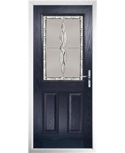 The Farnborough Composite Door in Blue with Luxury Crystal