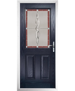 The Farnborough Composite Door in Blue with Red Luxury Crystal