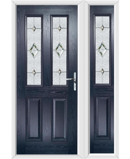 The Cardiff Composite Door in Blue with Crystal Diamond and matching Side Panel