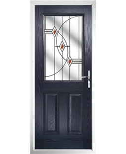 The Farnborough Composite Door in Blue with Red Fusion Ellipse