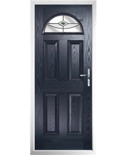 The Derby Composite Door in Blue with Green Fusion Ellipse