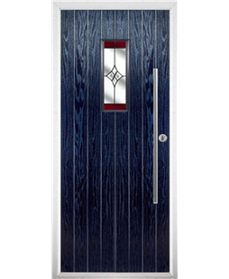 The Zetland Composite Door in Blue with Red Crystal Harmony