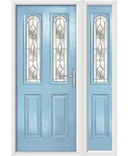 The Aberdeen Composite Door in Blue (Duck Egg) with Brass Art Clarity and matching Side Panel
