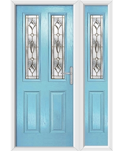 The Cardiff Composite Door in Blue (Duck Egg) with Brass Art Clarity and matching Side Panel