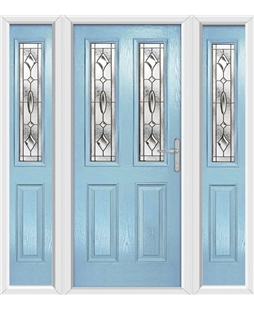 The Cardiff Composite Door in Blue (Duck Egg) with Brass Art Clarity and matching Side Panels