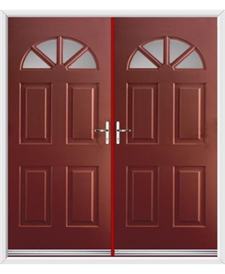 Carolina French Rockdoor in Ruby Red with Glazing