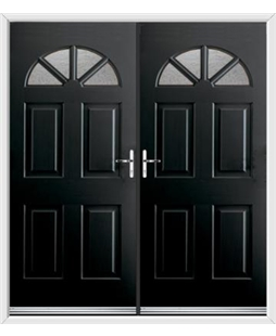 Carolina French Rockdoor in Onyx Black with Gluechip Glazing