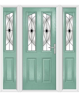 The Birmingham Composite Door in Green (Chartwell) with Black Fusion Ellipse and matching Side Panels