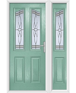 The Birmingham Composite Door in Green (Chartwell) with Crystal Harmony Frost and matching Side Panel
