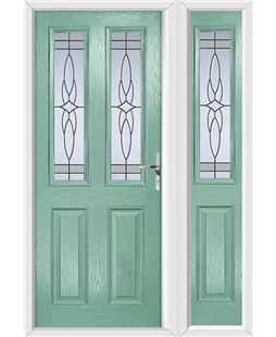 The Cardiff Composite Door in Green (Chartwell) with Crystal Harmony Frost and matching Side Panel